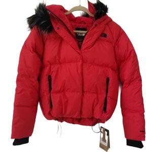 North Face Dealio Faux Fur-Trim Cropped Down Coat